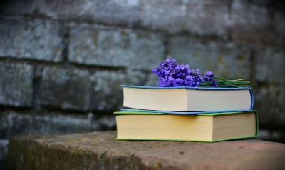 Two books stacked on a stone slab. Purple flower lays on top of the books.